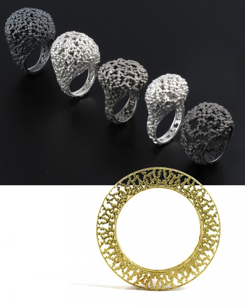 Bagues et bracelet en argent ou or de Jo Hayes-Ward,  une des  10 créateurs britanniques