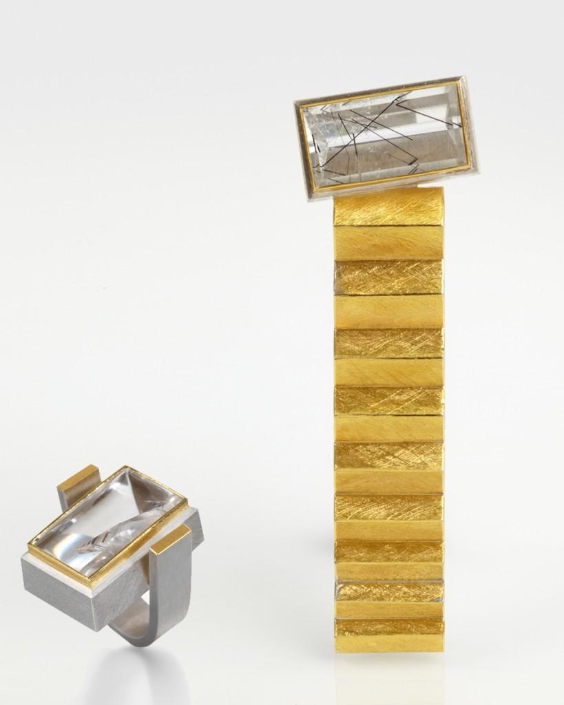 Bague et pendentif en argent, or et quartz rutile de J. Koppmann,  un des  10 créateurs britanniques