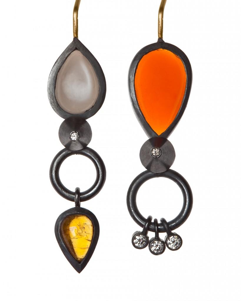 Boucles d'oreilles argent noirci, pierres fines et diamants de Lucy Martin,  une des  10 créateurs britanniques