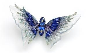 Broche tanzanite, diamants, cristal de roche de Wallace Chan